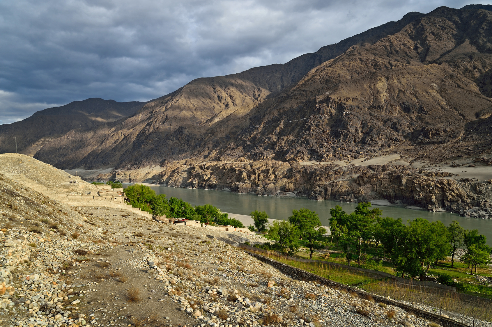 The raging Indus River in Northern Pakistan.